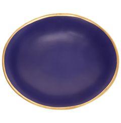 Terakotový hluboký talíř se zlatým okrajem, 33 cm