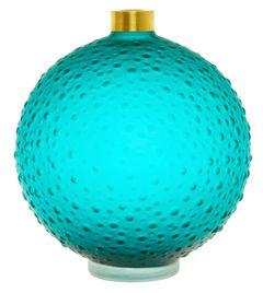 Ručně vyráběná skleněná váza, 18 cm
