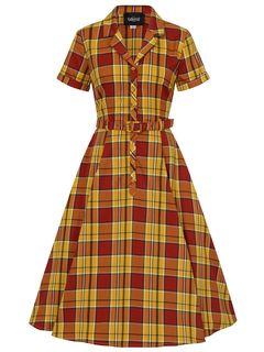 Košilové šaty s kolovou sukní  Caterina Autumn Leaves
