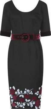 Pouzdrové šaty se sametovým páskem June Dark Roses
