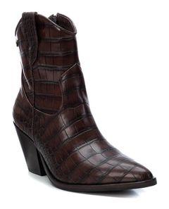 Dámské kotníkové boty s imitací krokodýlí kůže