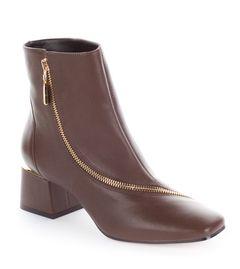 Kotníkové boty s ozdobným zipem