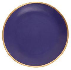 Terakotový talíř se zlatým okrajem, 21 cm