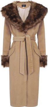 Dlouhý kabát s umělou kožešinou Carmella
