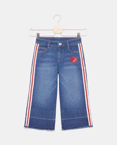 Dívčí široké džíny s proužky
